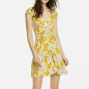 Free People Floral Dress Yellow Small